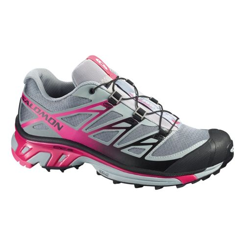 Womens Salomon XT Wings 3 Trail Running Shoe - Grey/Pink 9.5