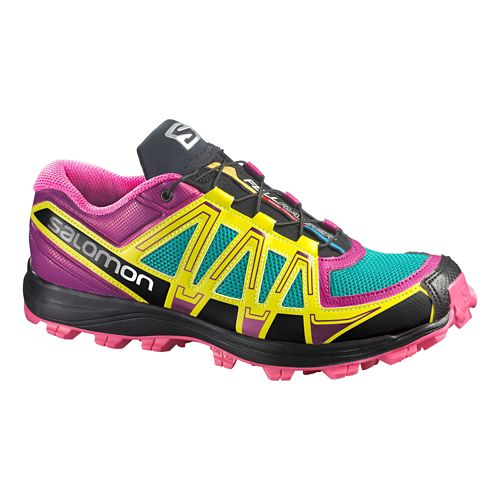 Womens Salomon Fellraiser Trail Running Shoe - Purple/Yellow 5.5