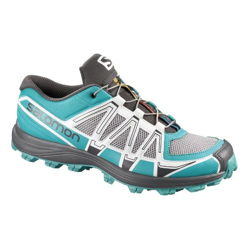 Womens Salomon Fellraiser Trail Running Shoe - Grey/Blue 10.5