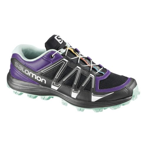 Womens Salomon Fellraiser Trail Running Shoe - Purple/Yellow 5.5