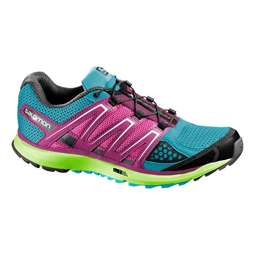 Womens Salomon X-Scream Trail Running Shoe - Blue/Pink 10
