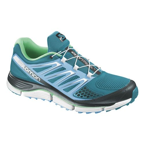 Womens Salomon X-Wind Pro Trail Running Shoe - Blue/Grey Denim 10