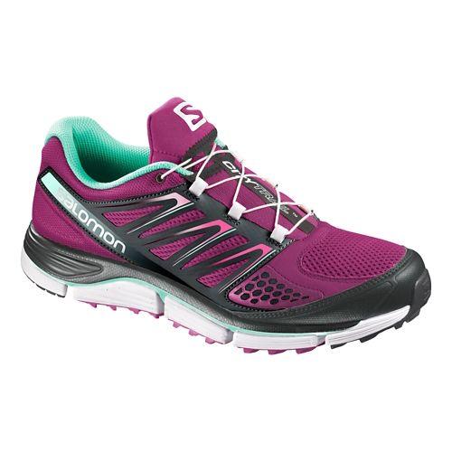 Womens Salomon X-Wind Pro Trail Running Shoe - Purple/Black 7