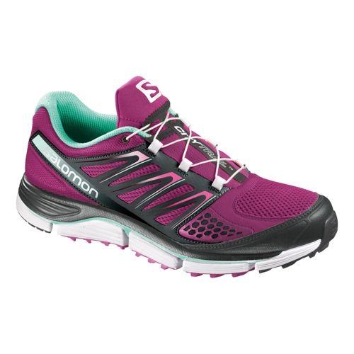Womens Salomon X-Wind Pro Trail Running Shoe - Purple/Black 7.5