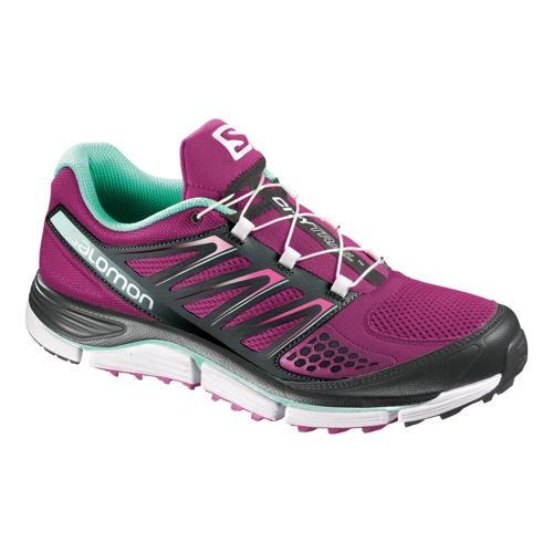 Womens Salomon X-Wind Pro Trail Running Shoe - Purple/Black 10