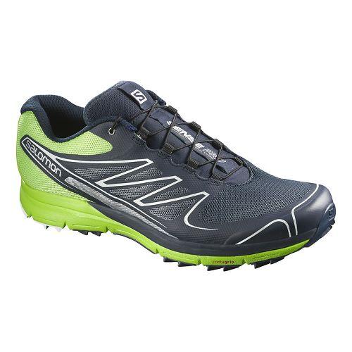 Mens Salomon Sense Pro Trail Running Shoe - Navy/Green 8.5