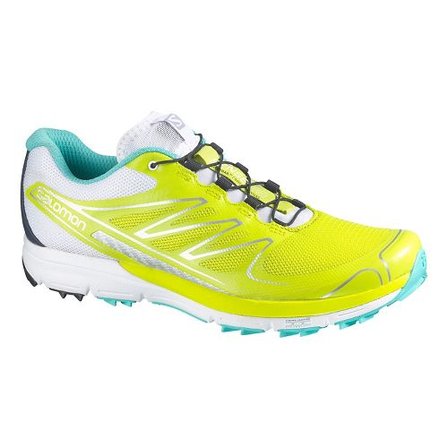 Womens Salomon Sense Pro Trail Running Shoe - Green/White 7.5