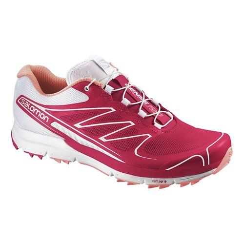 Womens Salomon Sense Pro Trail Running Shoe - Pink/White 7.5