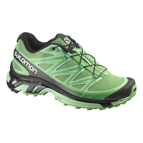 Womens Salomon Wings Pro Trail Running Shoe - Green/Black 10.5