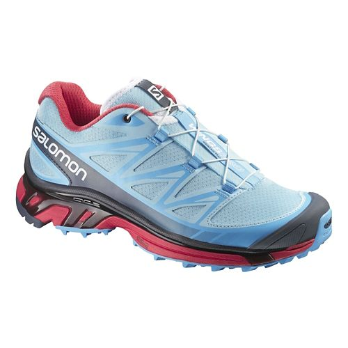 Womens Salomon Wings Pro Trail Running Shoe - Blue/Papaya 5.5