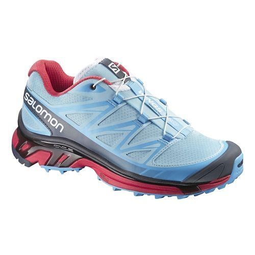 Womens Salomon Wings Pro Trail Running Shoe - Blue/Papaya 8.5