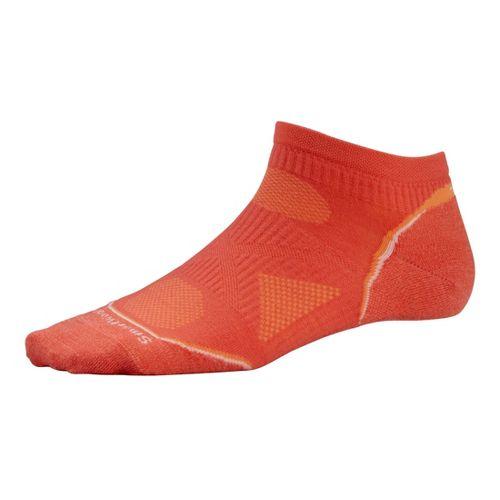 Womens Smartwool PhD Run Ultra Light Micro Socks - Poppy White Stripe S