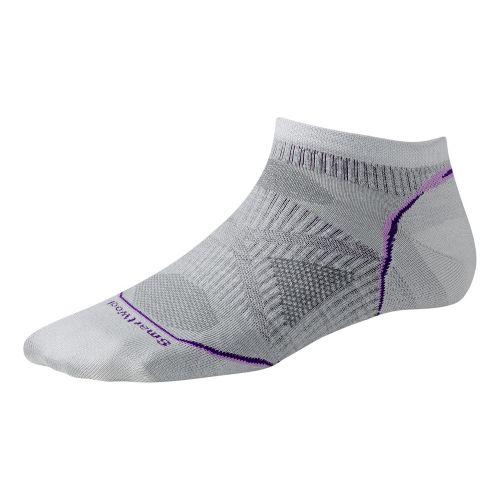 Womens Smartwool PhD Run Ultra Light Micro Socks - Silver/Purple S