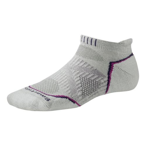 Womens Smartwool PhD Run Light Micro Socks - Silver/Purple L