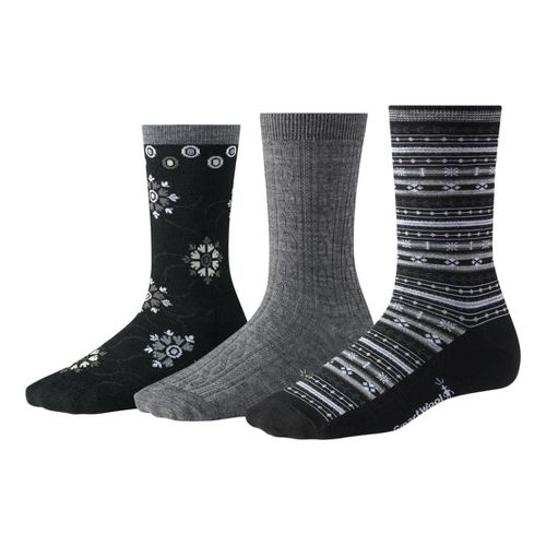 Womens Smartwool Ultra Comfy Trio Socks - Grey/Black M