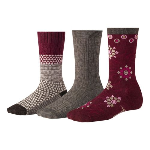 Womens Smartwool Ultra Comfy Trio Socks - Wine/Heather M