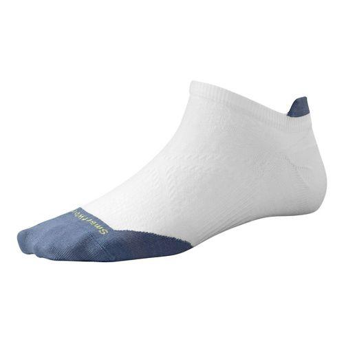Womens Smartwool PhD Run Ultra Light Micro Socks - White/Blue Steel S