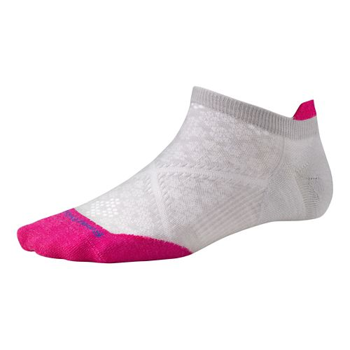 Womens Smartwool PhD Run Ultra Light Micro Socks - Silver/Bright Pink M