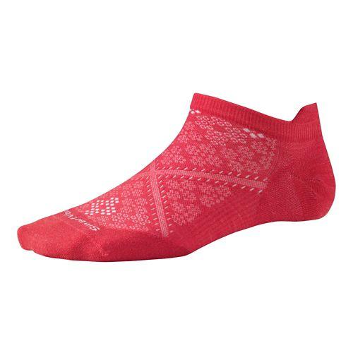 Womens Smartwool PhD Run Ultra Light Micro Socks - White Blue Steel S