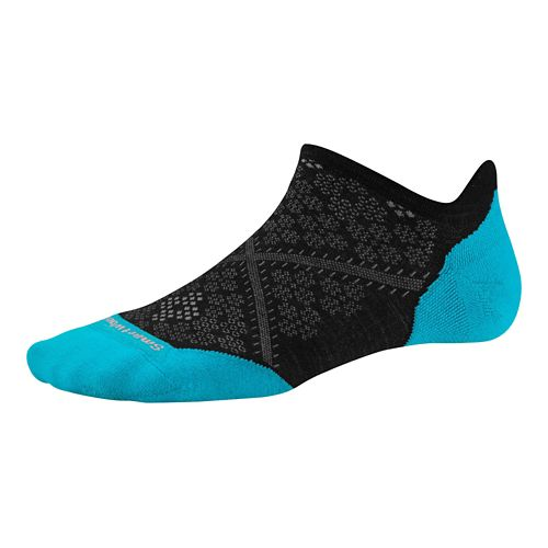 Womens Smartwool PhD Run Light Elite Micro Socks - Black/Capri M