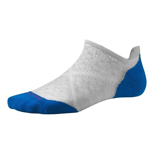 Womens Smartwool PhD Run Light Elite Micro Socks - Silver/Bright Blue M