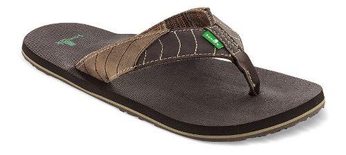 Mens Sanuk Pave The Wave Sandals Shoe - Dark Brown/Tan 8