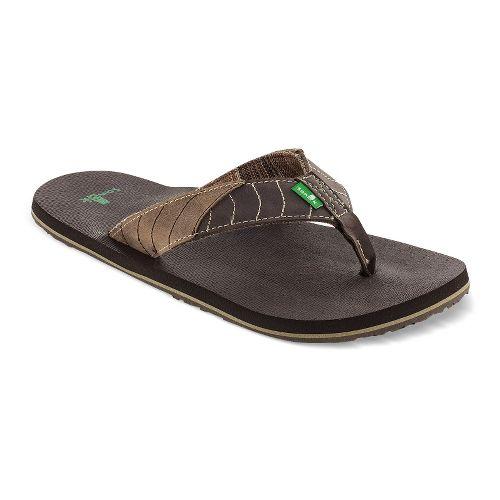 Mens Sanuk Pave The Wave Sandals Shoe - Dark Brown/Tan 14