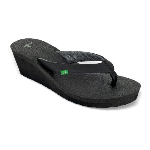 Womens Sanuk Yoga Mat Wedge Sandals Shoe - Black 5