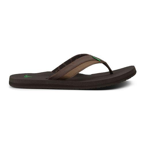 Mens Sanuk Beer Cozy Light Sandals Shoe - Dark Brown 12