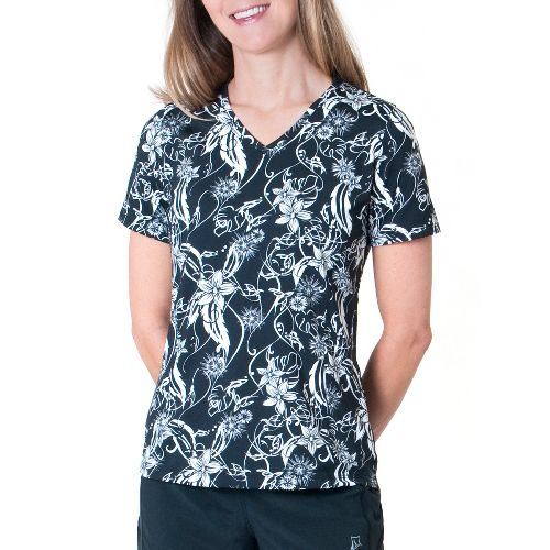 Womens Skirt Sports Free Me Tee Short Sleeve Technical Tops - Paradise Print S