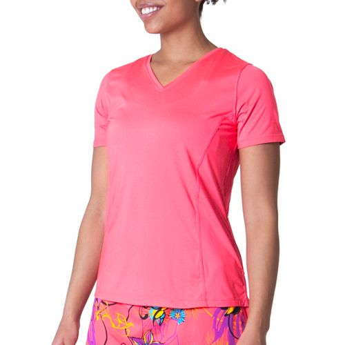 Womens Skirt Sports Free Me Tee Short Sleeve Technical Tops - Sunset Punch L