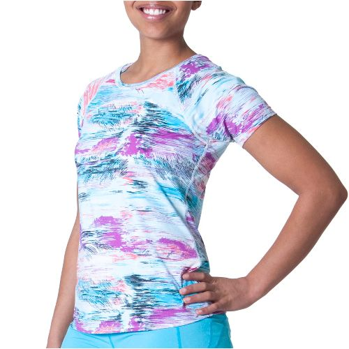Womens Skirt Sports Jubilee Tee Short Sleeve Technical Tops - Oasis Print L