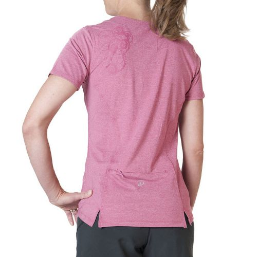 Womens Skirt Sports Easy Ride Top Short Sleeve Technical Tops - Sangria XXL