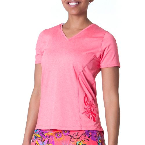 Womens Skirt Sports Easy Ride Top Short Sleeve Technical Tops - Sunset Punch L