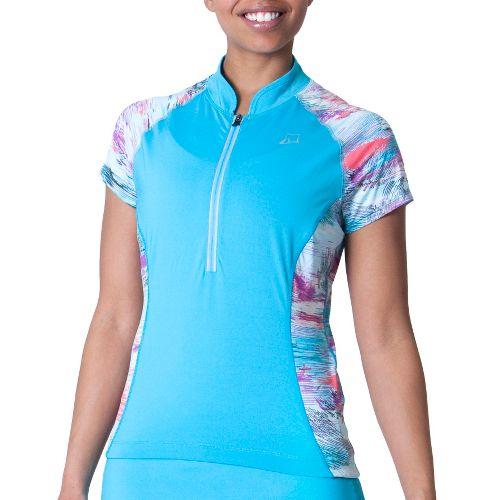 Womens Skirt Sports Free Ride Jersey Short Sleeve Technical Tops - Blue Horizon/Oasis Print L ...