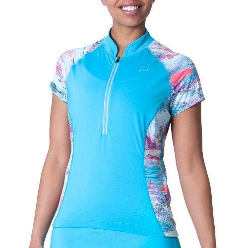 Womens Skirt Sports Free Ride Jersey Short Sleeve Technical Tops - Blue Horizon/Oasis Print XL ...
