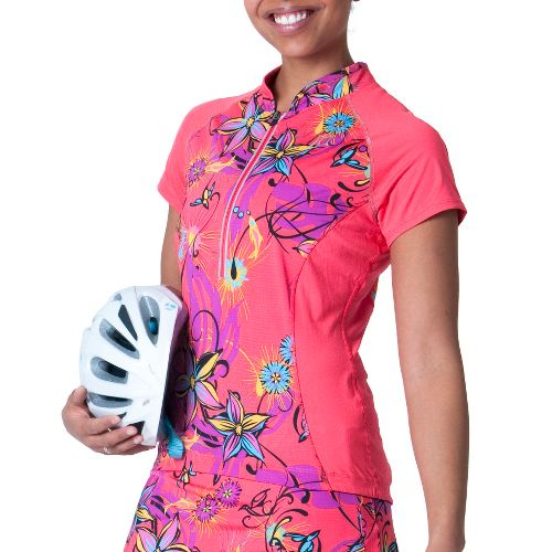 Womens Skirt Sports Free Ride Jersey Short Sleeve Technical Tops - Fiesta Print/Sunset Punch M ...