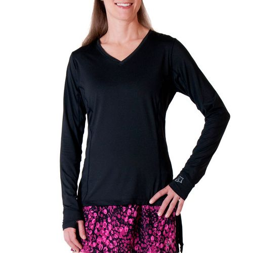 Womens Skirt Sports Free Me Long Sleeve No Zip Technical Tops - Black XS