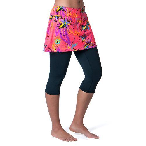Womens Skirt Sports Lotta Breeze Capri Skort Fitness Skirts - Fiesta Print/Black Legs XS