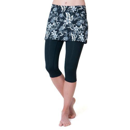Womens Skirt Sports Lotta Breeze Capri Skort Fitness Skirts - Paradise Print/Black Legs L