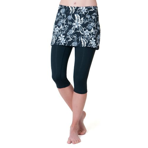 Womens Skirt Sports Lotta Breeze Capri Skort Fitness Skirts - Paradise Print/Black Legs S