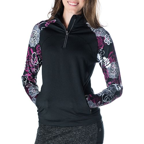 Womens Skirt Sports Tough Chick Long Sleeve Technical Tops - Black/Enchanted XL