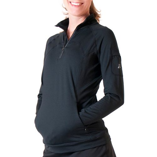Womens Skirt Sports Tough Chick Top Long Sleeve 1/2 Zip Technical Tops - Black XS ...