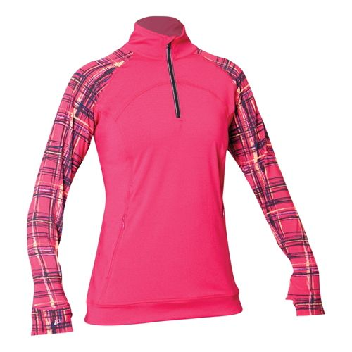 Womens Skirt Sports Tough Chick Top Long Sleeve 1/2 Zip Technical Tops - Sangria/Aberdeen Print ...