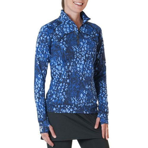 Womens Skirt Sports Tough Chick Top Long Sleeve 1/2 Zip Technical Tops - Washed/Denim Print ...