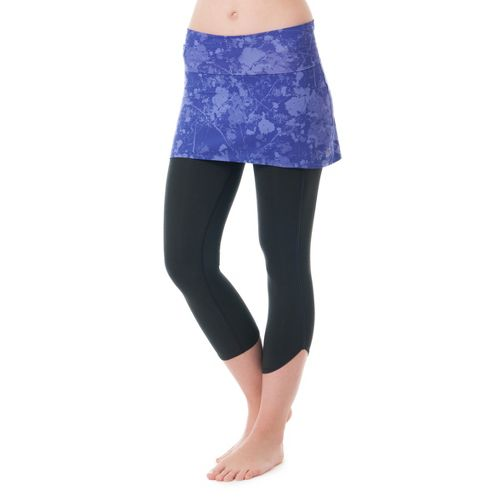 Womens Skirt Sports Levity Capri Tights - Purple Passion Print/Black L