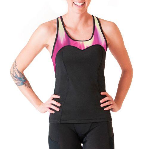 Womens Skirt Sports Siren Tank Sport Top Bras - Black/Blur Print XS