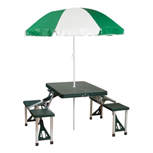 Stansport Table and Umbrella Combo Fitness Equipment - Green/White
