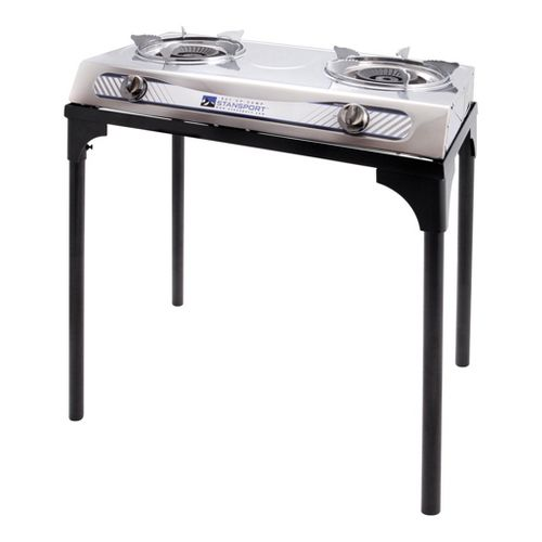 Stansport Gourmet 2 Burner Stove with Stand Fitness Equipment - Black/White