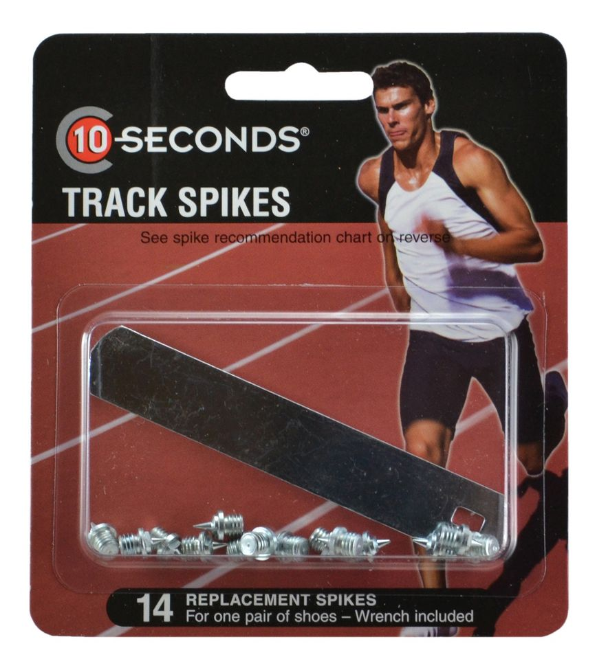 "10 SECONDS® TRACK SPIKES 3/16"" NEEDLE (5mm) 14 pack  ::  Dig in, getting ferocious traction and durability from these awesome 10 Seconds® Track Spikes. You'll appreciate the unbeatable long-lasting wear of these spikes that are heat tested for maximum durability. Plus, you're sure to get maximum traction no matter where your training takes you because these 10 Seconds® Spikes can be used on all surfaces, including asphalt, synthetic and natural."
